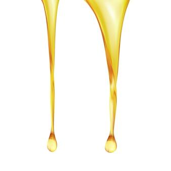 Goccia di olio di oliva o carburante dorato, liquido cosmetico.