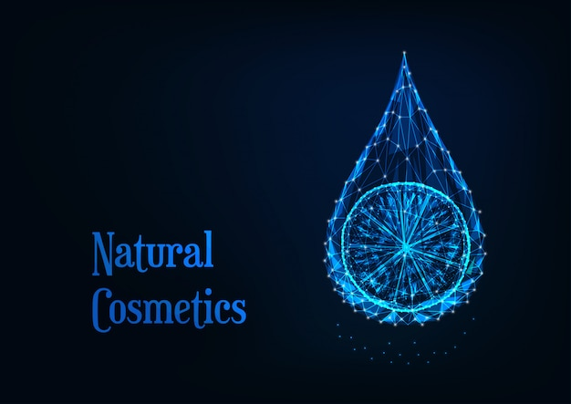 Goccia di olio essenziale poligonale basso incandescente futuristico con fetta di limone su sfondo blu scuro.