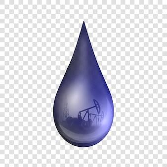 Goccia di petrolio, goccioline, benzina grezza o pompa dell'olio.