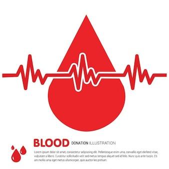 Goccia di sangue con la linea ecg