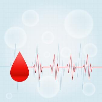 Goccia di sangue con linee di battito cardiaco sfondo medico