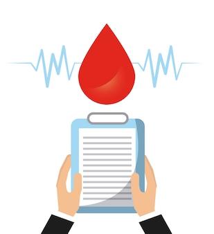 Goccia di sangue e le mani in possesso di un rapporto medico