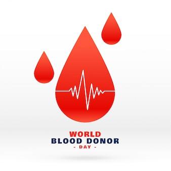 Goccia di sangue nel mondo per donatore di sangue