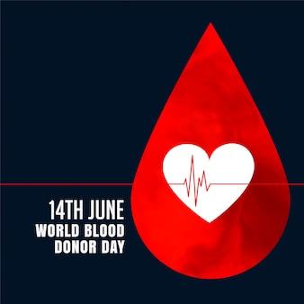Goccia di sangue rosso con lo sfondo del concetto di cuore