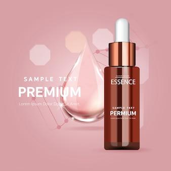 Goccia di siero rosa per il concetto di bellezza e cosmetica