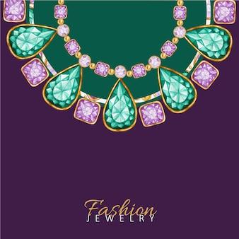 Goccia di smeraldo, cornice di pietre preziose quadrate e rotonde bellissimo braccialetto di gioielli.