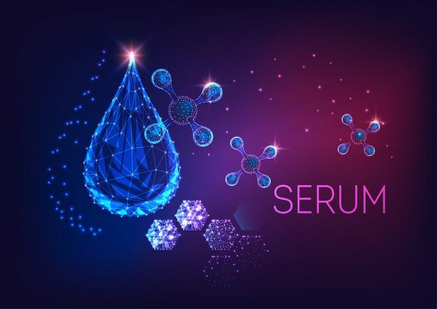 Goccia o siero cosmetico incandescente futuristico basso poligonale e molecole astratte.