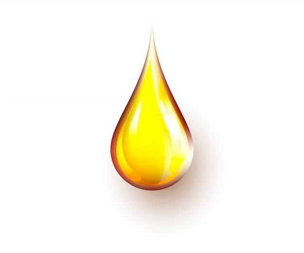 Goccia realistica gialla dell'olio isolata su fondo bianco. chiazza di luce riflessa sulla goccia d'olio.