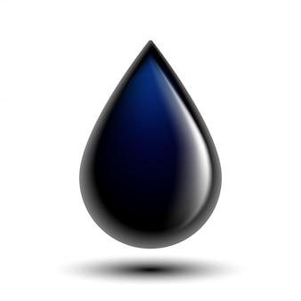 Gocciolina nera dell'olio sull'illustrazione foto-realistica bianca