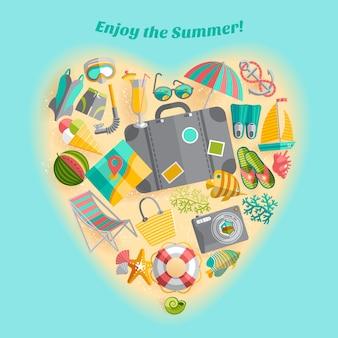 Godetevi il poster di composizione a forma di cuore di icone di viaggio vacanze estive