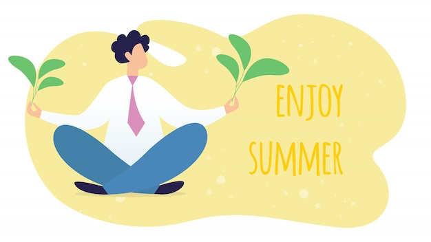 Godetevi summer horizontal banner con peaceful manager o businessman sitting in yoga lotus posture