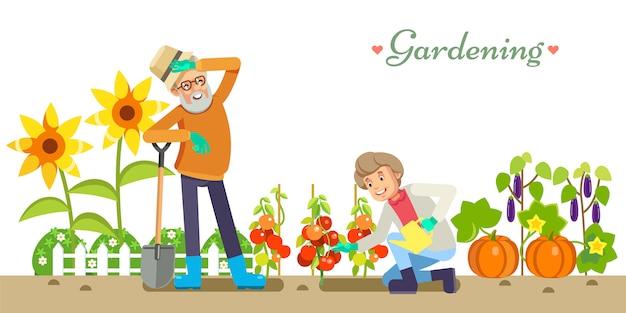 Godimento di giardinaggio e di piacere dell'illustrazione piana di vettore di stile di vita degli anziani. nonno e nonna in giardino. bianco isolato