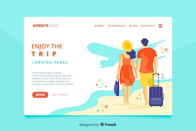 Goditi la pagina di destinazione del viaggio di viaggio