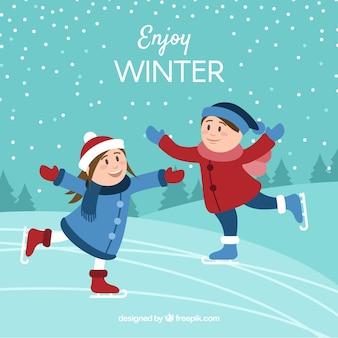 Goditi lo sfondo invernale con i bambini che pattinano sul ghiaccio