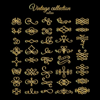 Golden calligraphic fiorisce elementi di design
