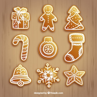 Golden christmas elements collection