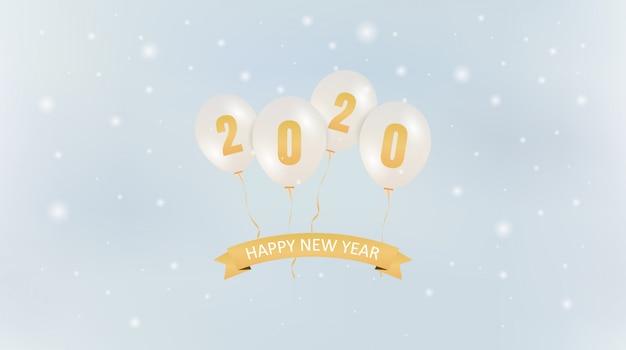 Golden felice nuovo anno 2020 in pallone galleggiante partito e fiocco di neve che cade su sfondo blu cielo