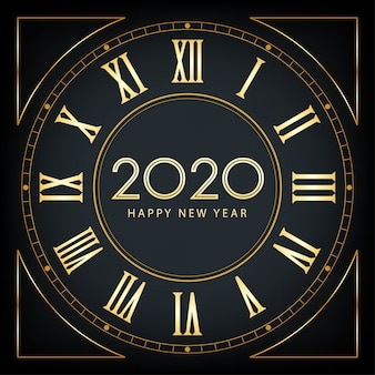 Golden happy new year 2020 e mantello con glitter su sfondo di colore nero
