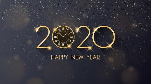 Golden happy new year 2020 e orologio con glitter su sfondo di colore nero