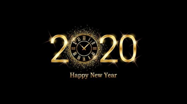 Golden happy new year 2020 e quadrante di orologio con glitter scoppiati su sfondo di colore nero