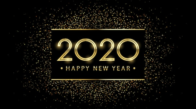 Golden happy new year 2020 in etichetta quadrata con scoppio glitter nero