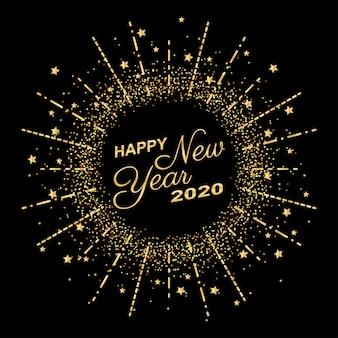 Golden happy new year 2020 in fuochi d'artificio anello cerchio con glitter scoppio su sfondo di colore nero
