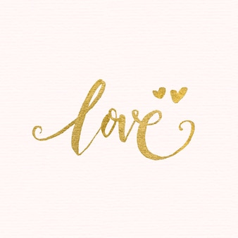 Golden love lettering