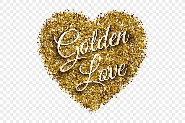 Golden love text tinsel heart background