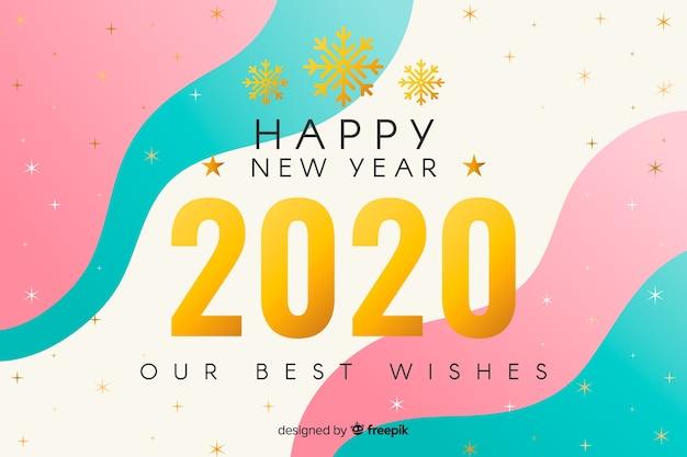 Golden nuovo anno 2020 con sfondo fluido
