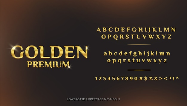 Golden premium text alphabets 3d