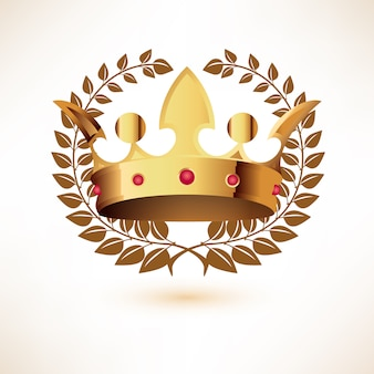 Golden royal crown con laurel wreath isolato su bianco