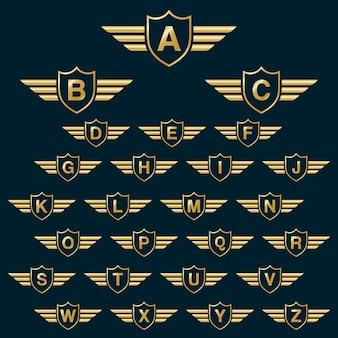 Golden shield vince con l'icona del logo delle lettere alfabeto di capitale con lettere di alfabeto di capitale. elementi del modello di design badge shield - lettera da a a z.