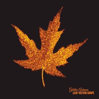 Golden shimmer glowing maple leaf