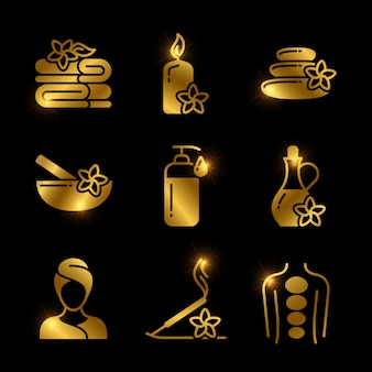 Golden spa, massaggio, rilassante icone vettoriali di set