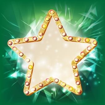 Golden star frame vector. elemento incandescente. stella con lampadine. cartello, cartellone bianco. illustrazione del cinema