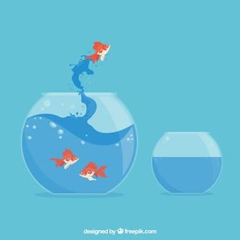 Goldfish saltando fuori da un acquario in stile piatto