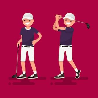 Golf. giocatore di golf in posa illustrazione