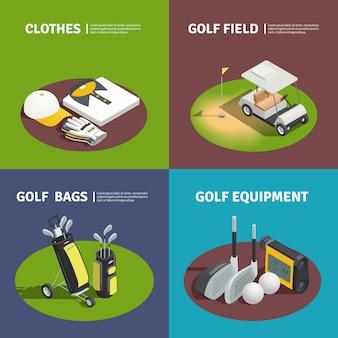 Golfista vestiti golf borse carrello sul campo e composizioni quadrate attrezzature da golf