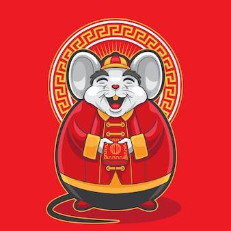 Gong xi fa cai grande topo grasso che tiene busta rossa