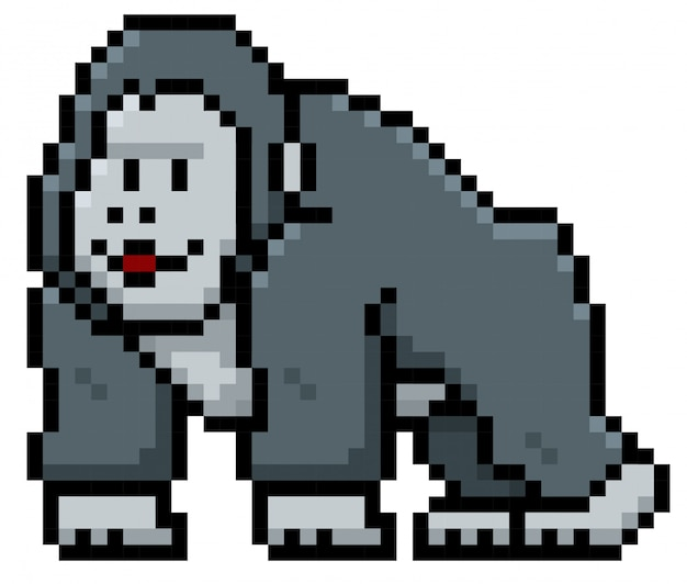 Gorilla cartoon pixel design