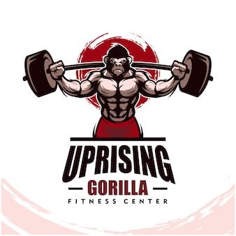 Gorilla con corpo forte, fitness club o logo palestra.
