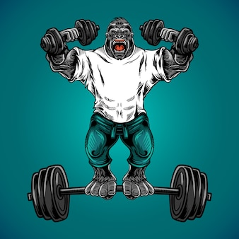 Gorilla fitness gym vector