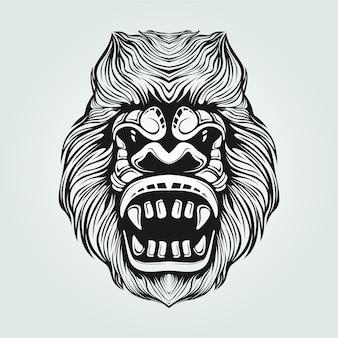 Gorilla line art in bianco e nero con la faccia decorativa