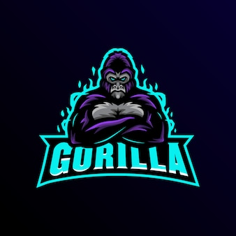 Gorilla mascotte logo esport gaming.