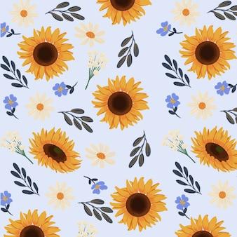 Goucahe summer yellow sunflower seamless pattern