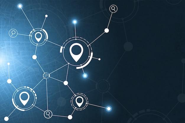 Gps e priorità bassa astratta di tecnologia dell'icona di ricerca.