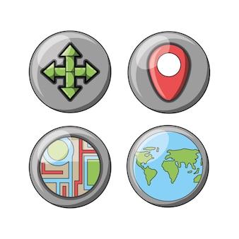 Gps e pulsanti di navigazione di viaggio e tema del percorso