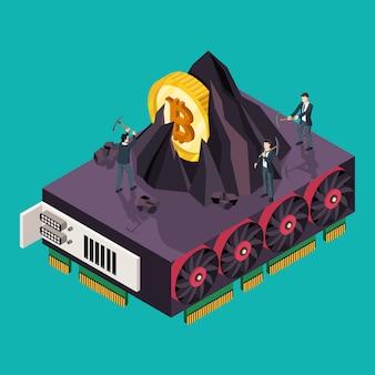 Gpu mining bitcoin concept. illustrazione isometrica