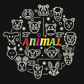Gradiente colorato animale con set di icone di linea