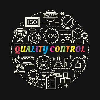 Gradiente colorato di controllo di qualità con le icone di linea impostate